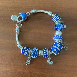 Glass Bead Sterling Silver Pandora Charm Bracelet